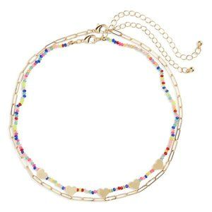 BP Beaded Set Of 2 Necklaces Gold Hearts Colorful